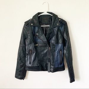 NWT Blank NYC black navy patch leather jacket S